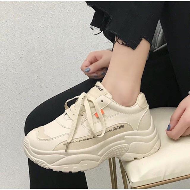 [Mã WSTOPT9 hoàn 30K xu đơn từ 150K] Giày thao nữ cá tính mầu da và mầu trắng fullboxx
