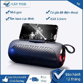 Cát Thái Loa bluetooth V6 âm bass chất lượng thích hợp dùng kết nối máy tính điện thoại kèm kệ đựng điện thoại mini loa