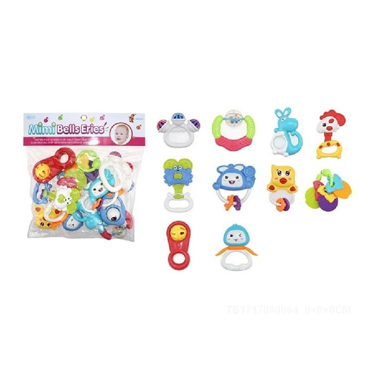 Túi đồ chơi xúc xắc, luc lạc kiêm gặm nướu cho bé 10 món Toys House 776-16
