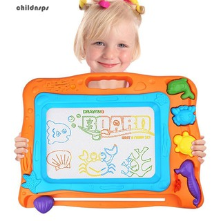 Magnetic Drawing Board Kids Colorful Erasable Writing Pad with 3 Stamps 1 Pen