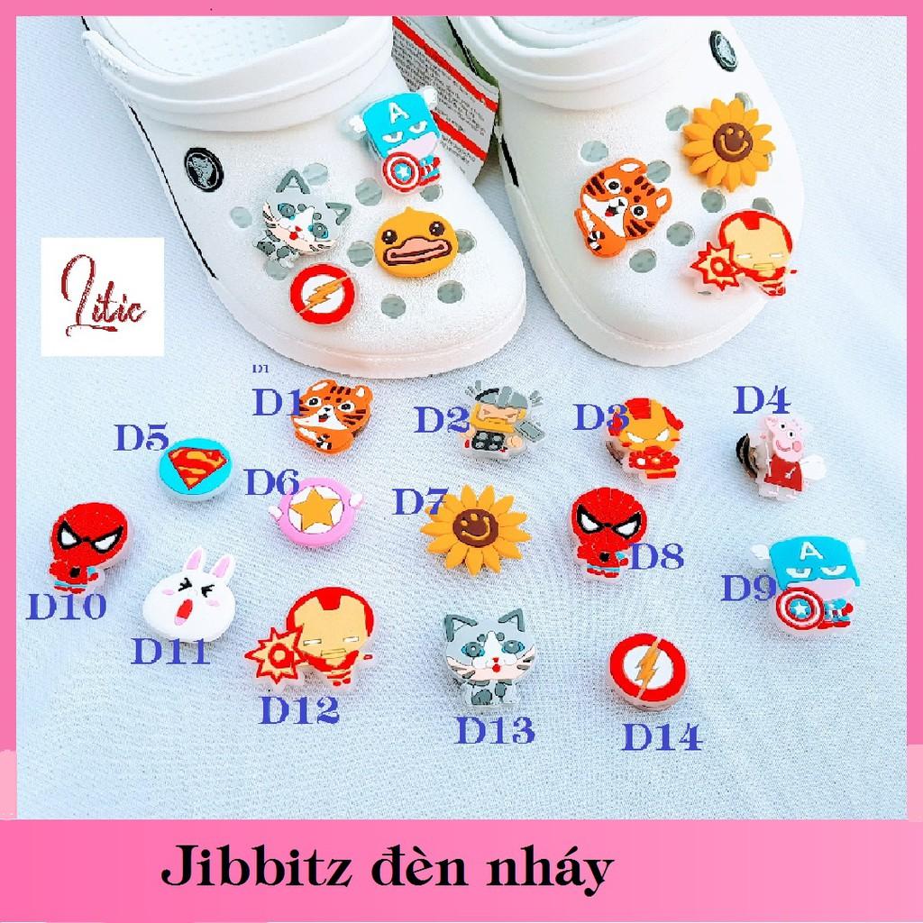 Sticker nhựa Jibbitz lò xo gắn dép Crocs - Loại có đèn LED