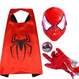 Bộ siêu nhân nhện 4 món áo choàng, mặt nạ, gang tay kèm đĩa siêu nhân Spiderman cho bé Khay