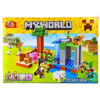 Bộ Lego Xếp hình Ninjago Minecraf My World Xây Dựng Nông Trại. Gồm 134 chi tiết. Lego Ninjago Lắp Ráp Đồ Chơi Cho Bé