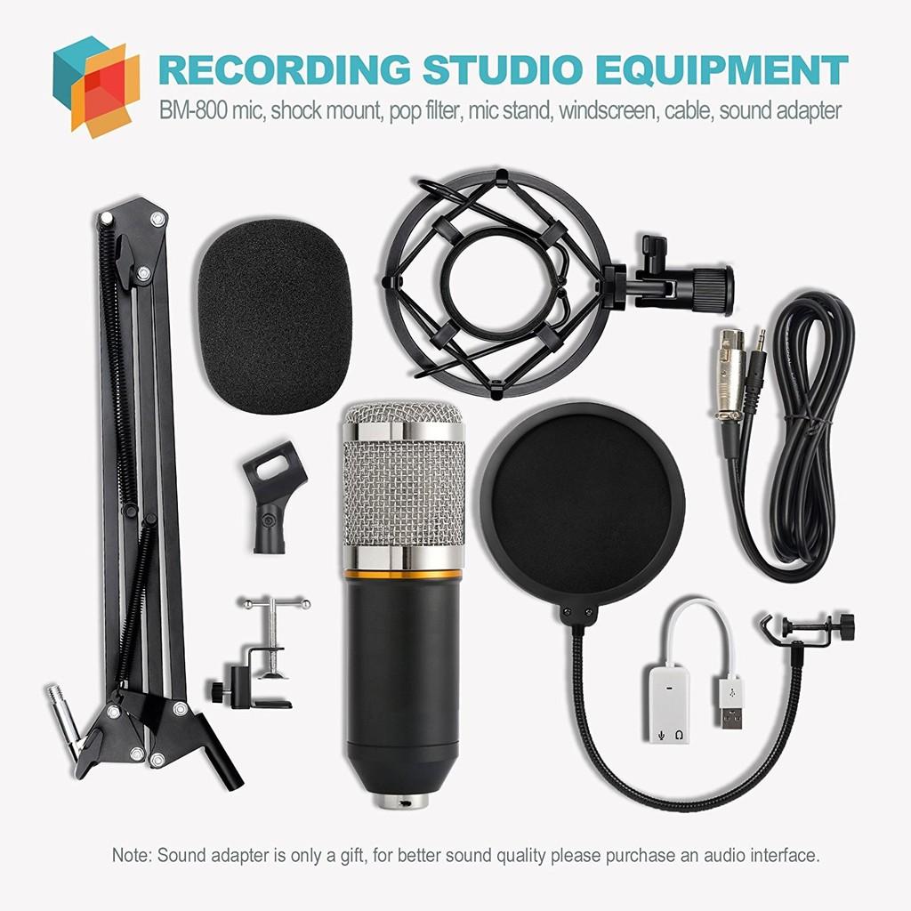 Micro thu âm cao cấp BM 800 kèm theo bộ phụ kiện chân đế, màng lọc và Usb sound dây - Chất lượng tuyệt hảo