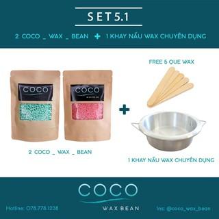 Sáp wax lông Coco Wax Bean + Dụng cụ Nấu sáp wax (freeship que gỗ)(cb-2)