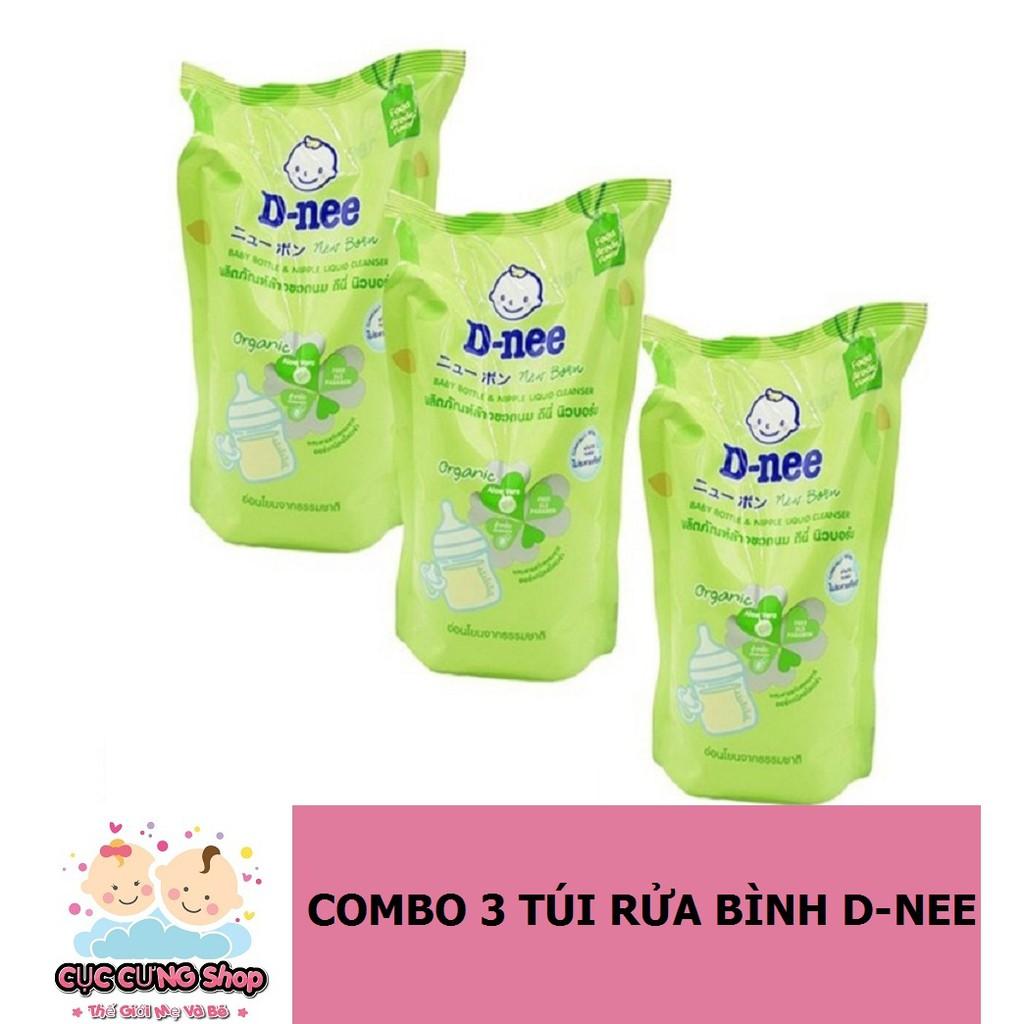 Bộ 3 túi nước rửa bình sữa Dnee Organic 600ml - Mẫu Mỡi 2018