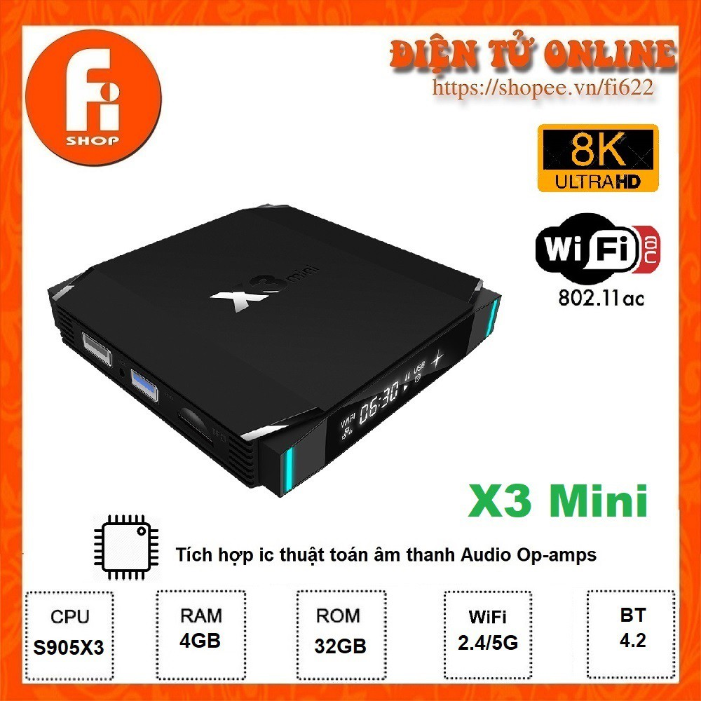 Android TV Box X3 Mini - Amlogic S905X3, 4GB Ram, 32GB bộ nhớ trong, Android TV 9.0