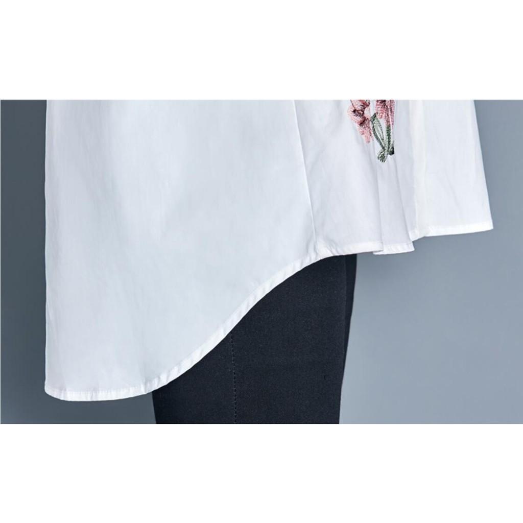 Áo thun nữ tay dài thêu hoạ tiết