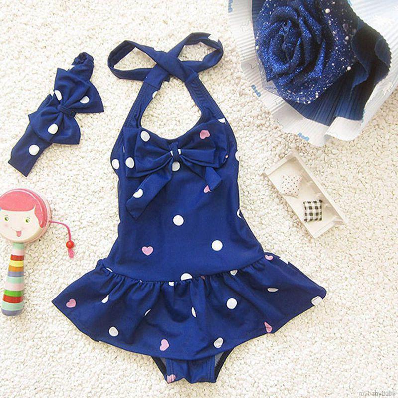 Set Bikini + Băng đô chấm bi cho bé gái