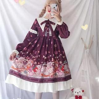 Đầm Dài Tay In Họa Tiết Mèo Xinh Xắn Theo Phong Cách Lolita
