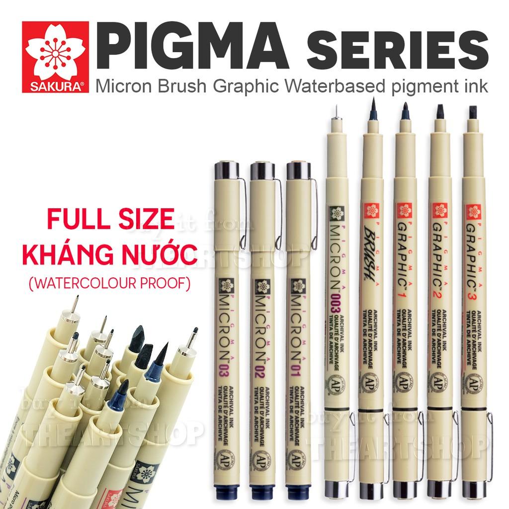 Bút line đi nét chuyên nghiệp SAKURA PIGMA MICRON 12 size (0.03 - Brush) - BÁN LẺ