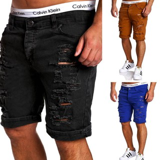 Men's casual shredded washed shorts F049