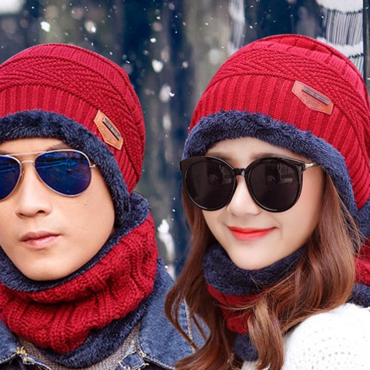 Mũ Len Nam Nữ Kèm Khăn Quàng Cổ Người Lớn Và Trẻ Em Chống Cái Lạnh Mùa Đông
