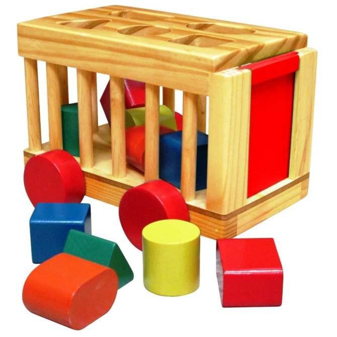Xe củi thả hình khối đồ chơi gỗ cho bé