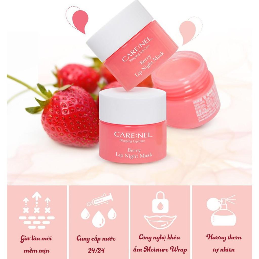 Mặt Nạ Ngủ Môi Dưỡng Ẩm, Căng Bóng Mềm Mịn Hương Dâu Care:nel Berry Lip Night Mask 5g - Hồng