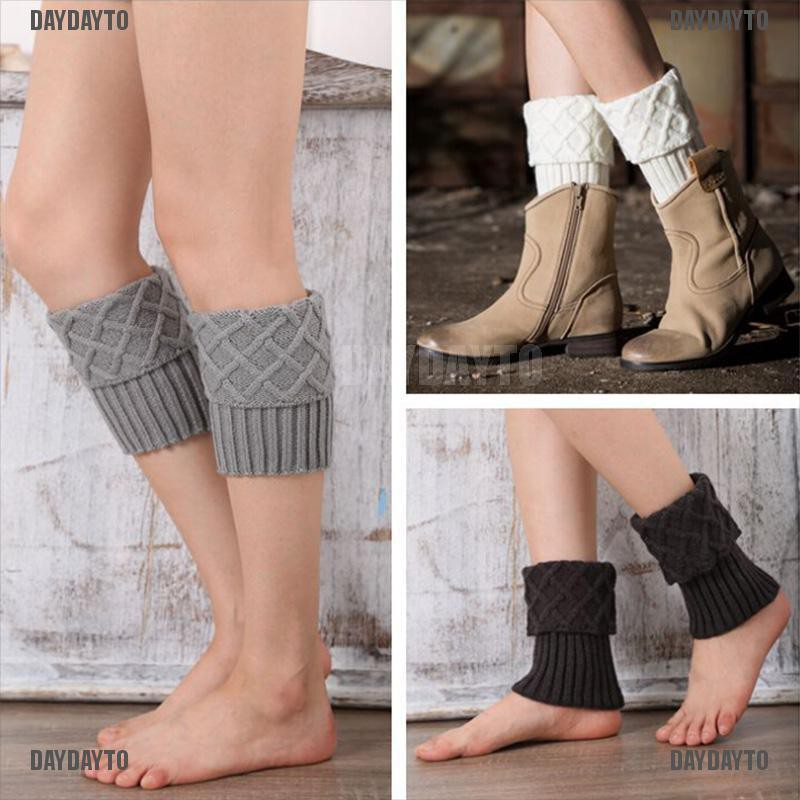 DAYDAYTO 1 Pair Women's Winter Crochet Boot Cuffs Knit Toppers Boot Socks Leg Warmers [COD]