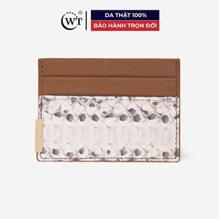 Ví Đựng Thẻ Da Bò Phối Da Trăn Cao Cấp Màu Be (Nâu Nhạt), Màu Đen, Màu Đỏ WT Leather 020059111, 020059102, 020059133 thumbnail