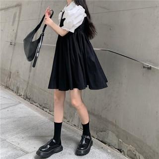 Bộ Áo Sơ Mi Tay Phồng + Chân Váy Chữ A Thời Trang Dành Cho Nữ