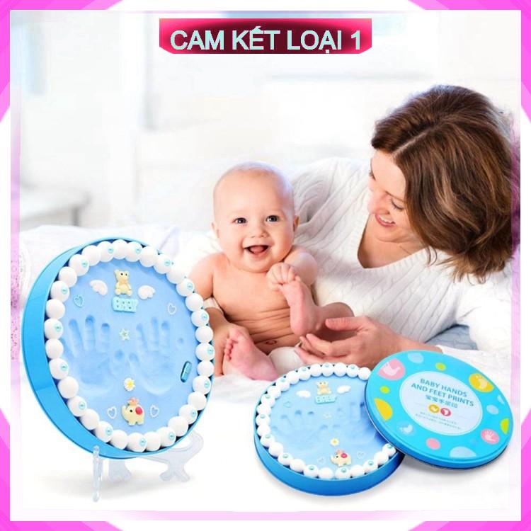 [ BH – 1 ĐỔI 1 ] Bộ khung hộp in dấu vân chân tay chân cho bé sơ sinh lưu dữ kỷ niệm bằng đất sét