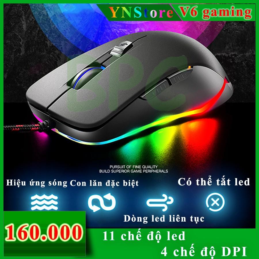 [VIEDO] Chuột chơi game V6 LED RGB FREE WOLF Black Giá chỉ 160.000₫
