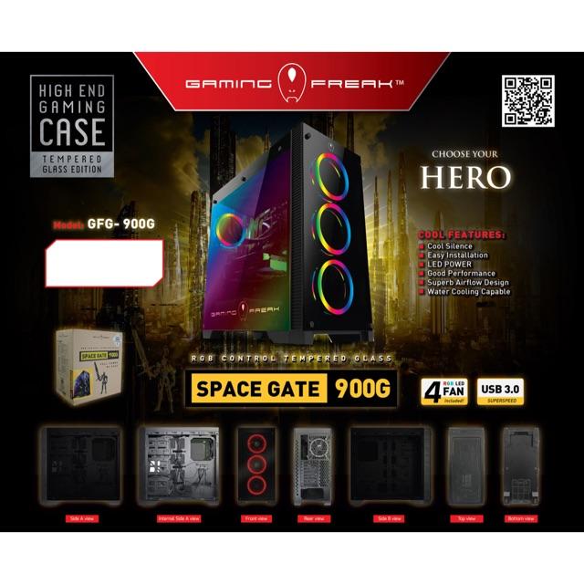 Vỏ Case 900G-Case Gương có 4 Fan LED RGB