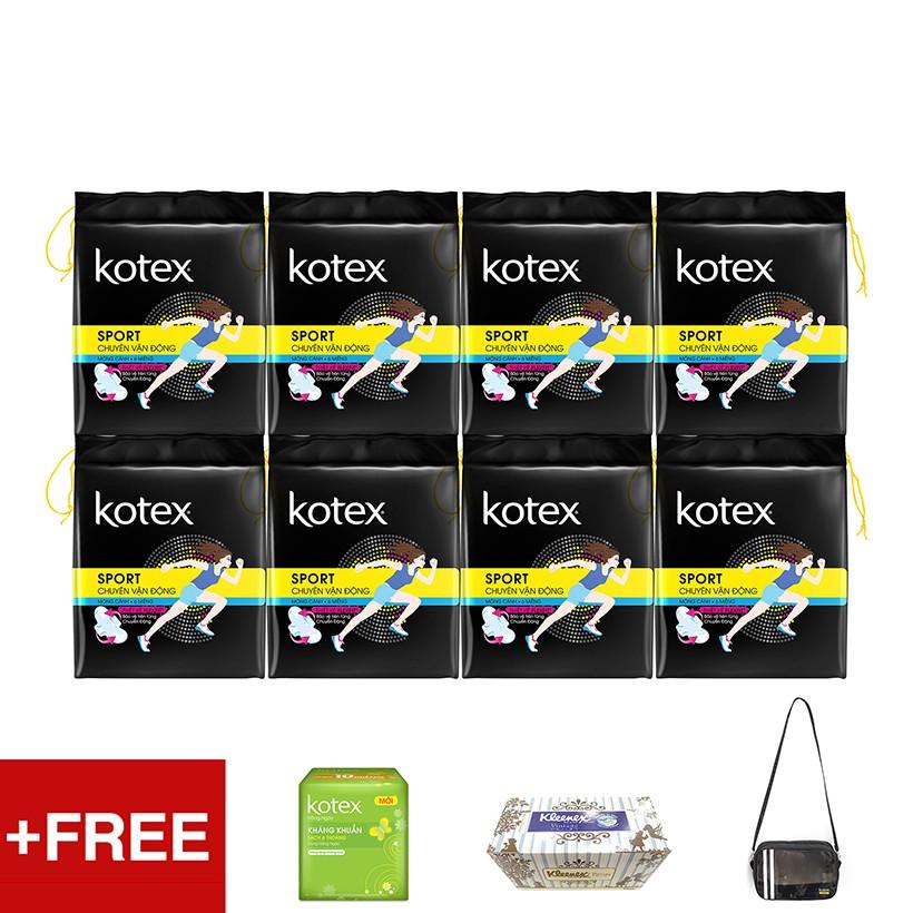 Bộ 8 gói Kotex Sport Siêu Mỏng Cánh Tặng Túi thể thao + Hộp khăn giấy Kleenex + 1 Gói Kotex Hàng ngà - 3504394 , 1223293219 , 322_1223293219 , 163500 , Bo-8-goi-Kotex-Sport-Sieu-Mong-Canh-Tang-Tui-the-thao-Hop-khan-giay-Kleenex-1-Goi-Kotex-Hang-nga-322_1223293219 , shopee.vn , Bộ 8 gói Kotex Sport Siêu Mỏng Cánh Tặng Túi thể thao + Hộp khăn giấy Kleen