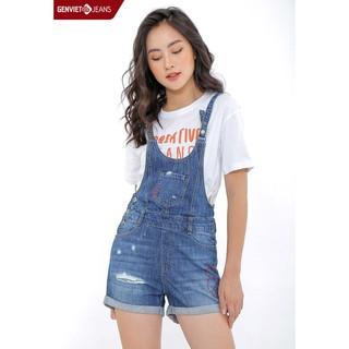 Quần yếm short jeans nữ TY424J507 GENVIET thumbnail