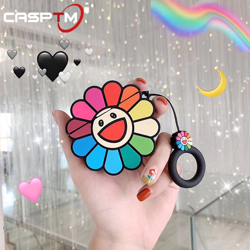 Cute 3D Sunflower Pattern Silicone Earphone Case For Apple AirPods 1 2 Shock Proof Protective Cover