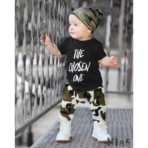 62c0f4ee7 ღ☭Toddler Kids Baby Boys Letter Printing T-shirt Top +Camouflage Pants  Trousers 2Pcs Outfits Clothes Set(not hat)