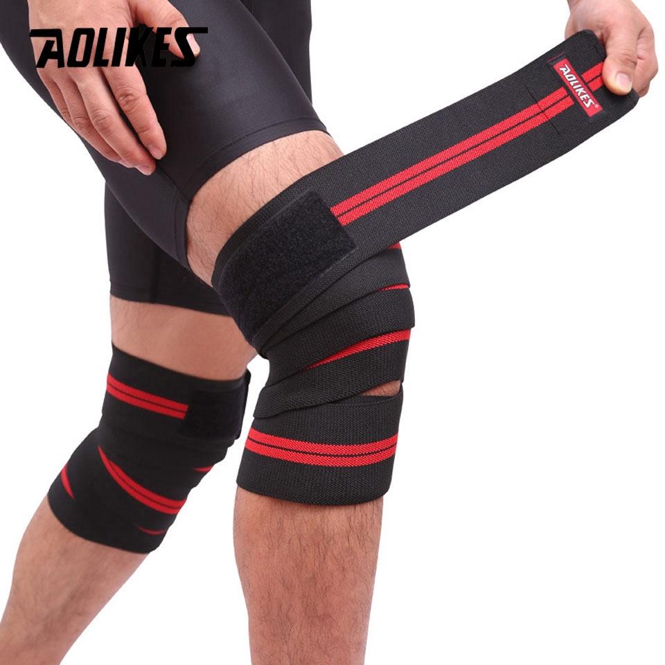 AOLIKES 1PCS 2M*8CM Fitness Pressurized Straps Gym Weight Lifting Leg Knee Compression Training Wraps Elastic Bandages