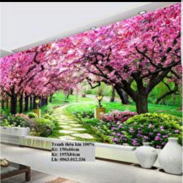 Tranh thêu phong cảnh rừng cây màu tím( con đường tình yêu