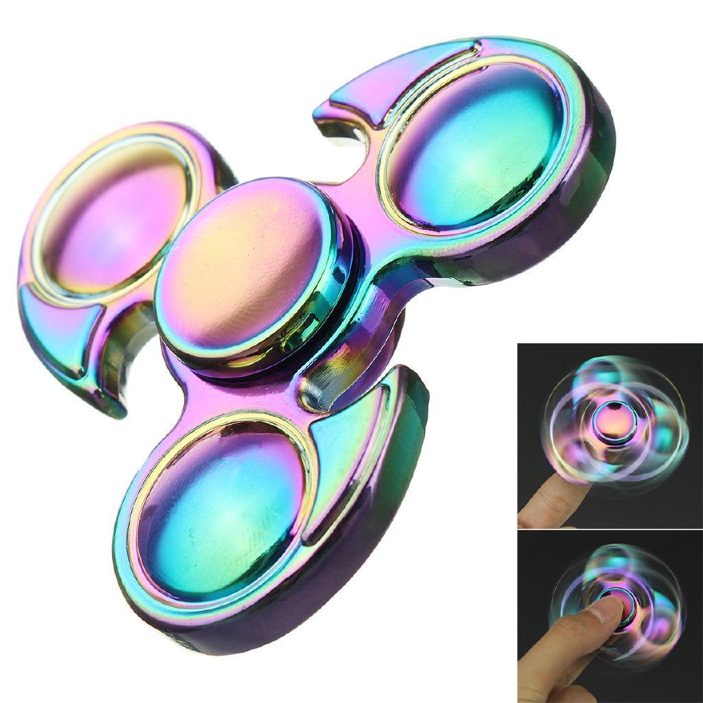 Rainbow Aluminum Tri Hand Finger Spinner Fidget EDC Desk Toy Gyro Focus Stress