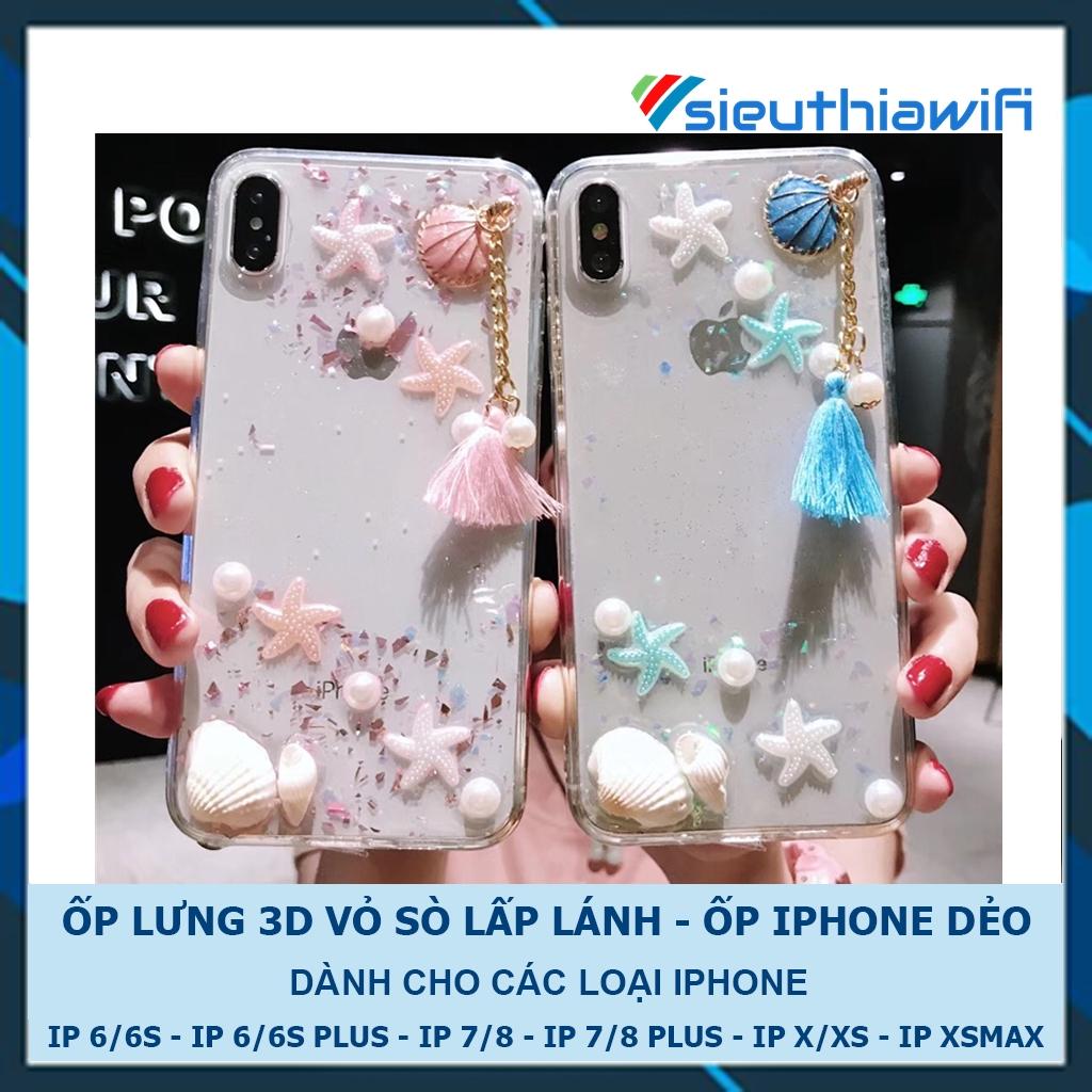[FREESHIP ĐƠN TỪ 50K TOÀN QUỐC ] ỐP LƯNG 3D VỎ SÒ KIM TUYẾN ( HÌNH NỔI ) - ỐP IPHONE DẺO [ E3-7 ]