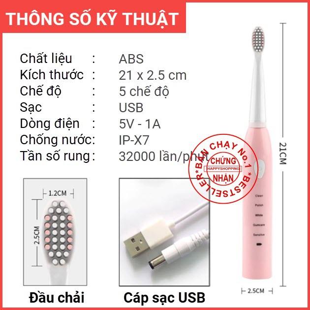 Bàn chải đánh răng điện tự động Sonic X1 với lông chải Dupont nhập khẩu Đức mềm mịn - Hachico