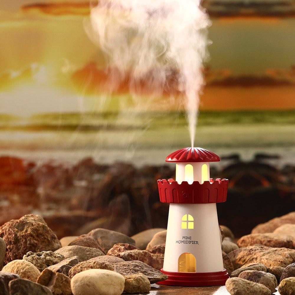 Máy xông tinh dầu phun sương, đèn ngủ ánh sáng vàng Lighthouse Humidifier - màu đỏ