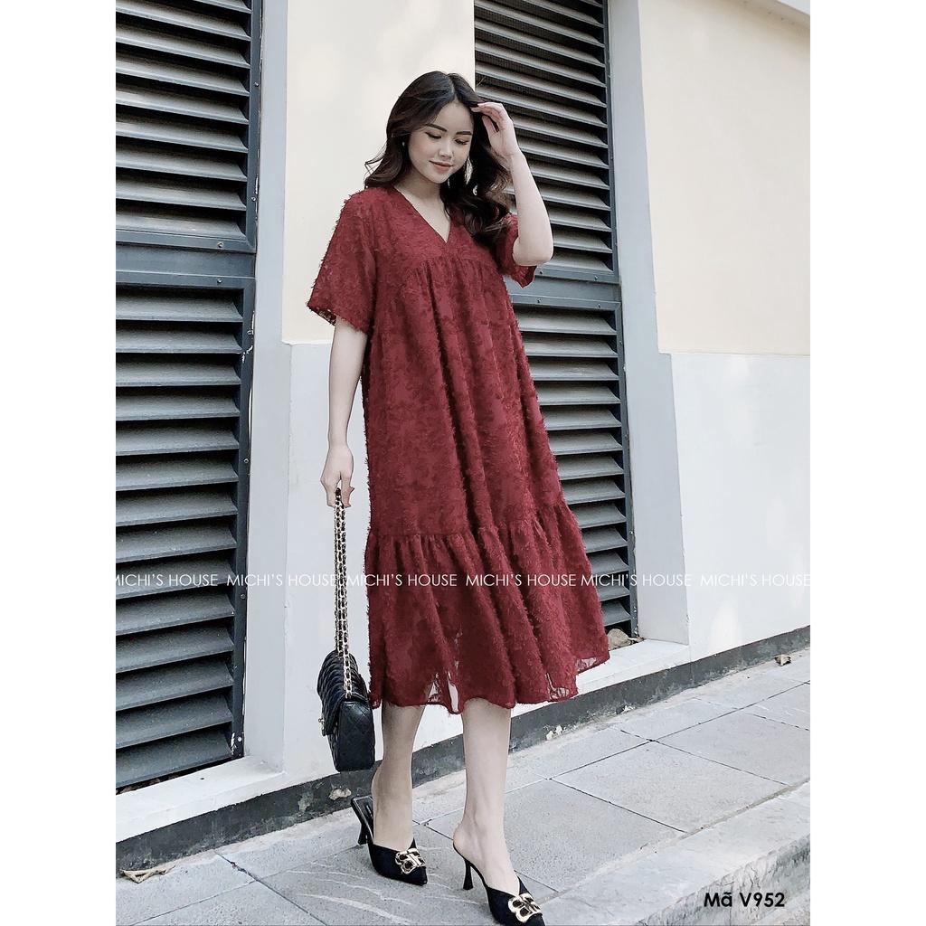 Mặc gì đẹp: Dễ chịu với Váy suông dáng dài qua gối đuôi cá chữ A đầm bầu thiết kế form xuông rộng freesize bigsize V952 Michi House