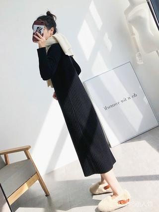 Đầm Sweater Dệt Kim Dáng Dài Qua Gối Cổ Lọ Thời Trang 2020 Cho Nữ