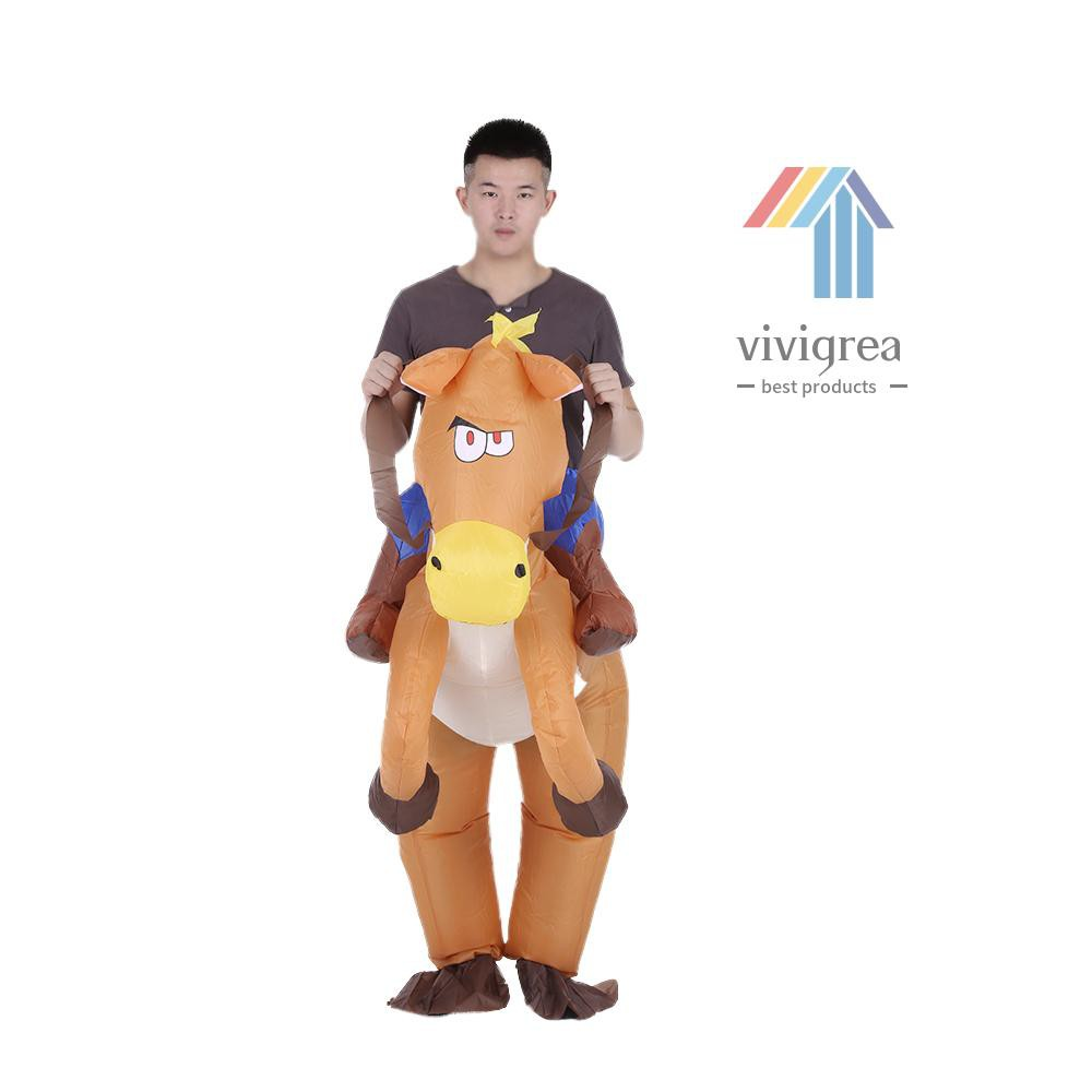 Vi&Vi Decdeal Funny Cowboy Rider on Horse Inflatable Costume Outfit for Adult Fancy Dress Halloween Carnival Party Blow Up Inflatable Costume Suit With Battery Operated Fan