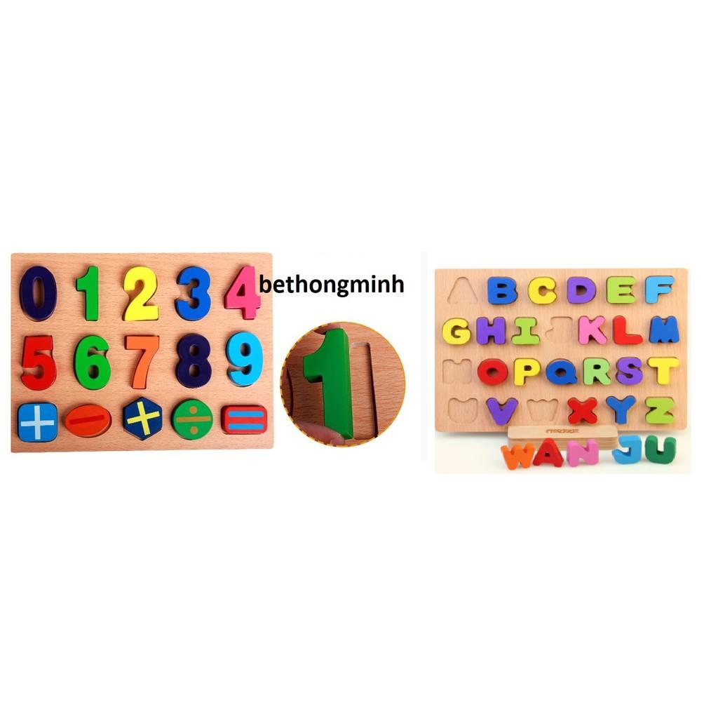 Đồ chơi xếp hình Combo 2 bảng số và chữ cái bằng gỗ
