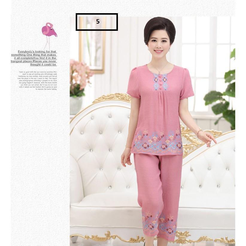 Bộ quần áo nữ mặc ở nhà cho mẹ ( đũi cúc)