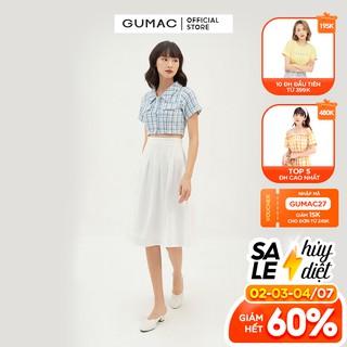 Chân váy nữ dáng dài nhún tùng GUMAC màu trắng, đủ size, phong cách VB386