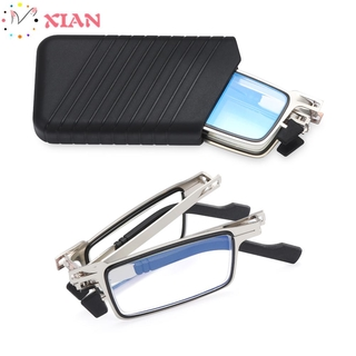 XIANSTORE Fashion Foldable Reading Glasses Portable Presbyopia Eyeglasses Blue Light Reading Glasses Anti UV400 Women Men Anti Eyestrain Compact Readers Glasses with Case