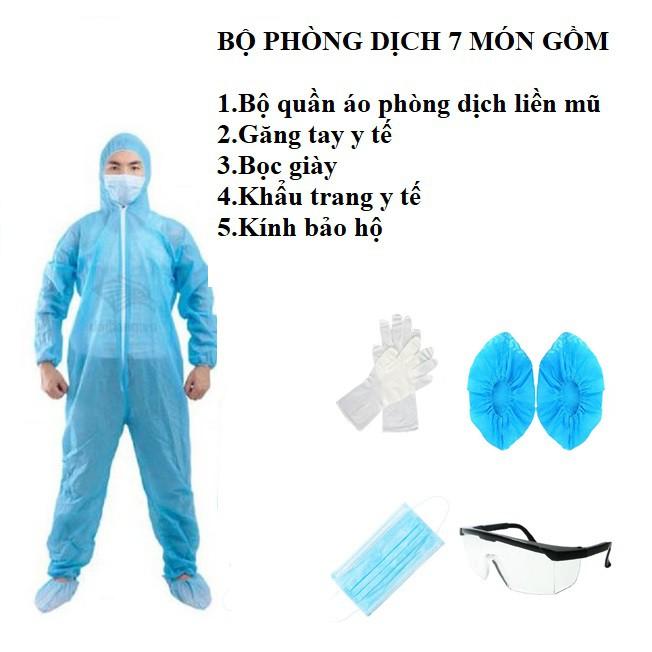 Bộ quần áo phòng dịch 7 món màu xanh hoặc màu trắng