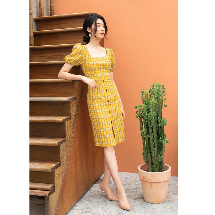 Váy kẻ vàng kẻ màu vàng cổ vuông cao cấp may tay RIMMY VA 0160