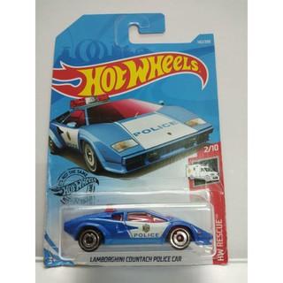 Xe Mô Hình Chính Hãng HotWheels – Lambor Countach Police Car (blue)
