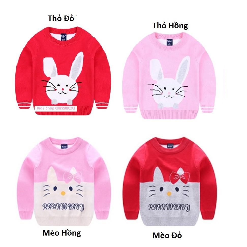 Áo Len 2 Lớp Bé Gái In Hình Mèo/Thỏ...Dành Cho Bé Từ 1-6 Tuổi Hàng Cam Kết Đẹp