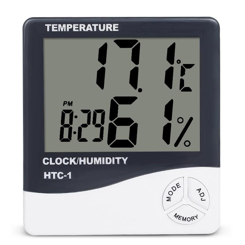 Đồng hồ điện tử đo nhiệt độ và độ ẩm trong nhà có màn hình hiển thị LCD tiện dụng chất lượng cao