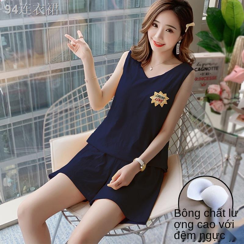 A95 cotton đai đệm đồ ngủ không tay phù hợp với phụ nữ mùa hè cổ chữ V tinh khiết rộng rãi có thể mặc quần áo mới ở