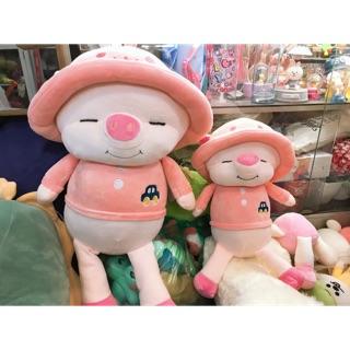 Gấu bông hình lợn hồng đội mũ xinh xắn kt 30cm và 50cm