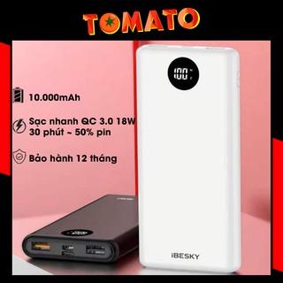 Sạc dự phòng iBesky PS702 10000mAh Sạc Nhanh QC 3.0 18W - Bảo Hành 12T - Phụ Kiện Tomato